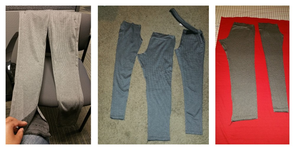 Pic 1: Taking the pants a part Pic 2: The front and back of one leg detached Pic 3: Leg pieces laid out on the fabric