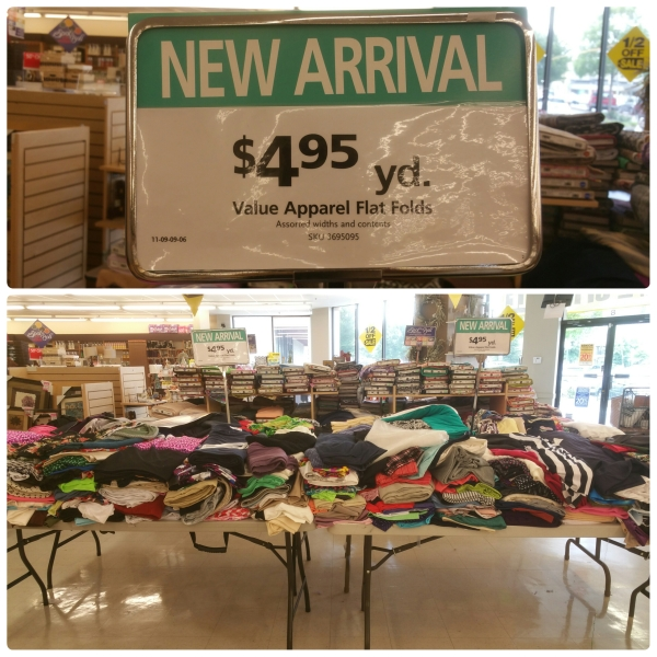 Flat Fold discount table at Hancock Fabrics