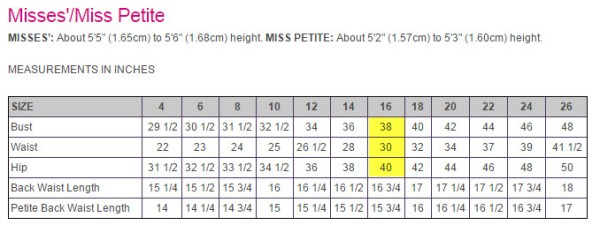 McCalls size chart