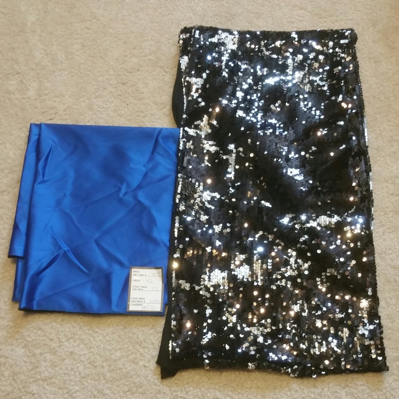 Stretch Satin (Giorgio Armani) 1/2 yard remnant Black and Silver stretch sequined fabric 1yd remnant