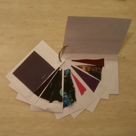 You can make your own swatch cards. Simply adhere a fabric swatch to the unlined side of a index card and jot the fabric name, content, width and other chareteristics on the lined side. A jump ring can keep them in order.